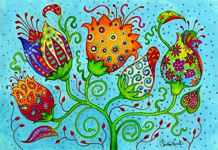 Mosaic Flowers-Indian Blue by Christine Kerrick art print