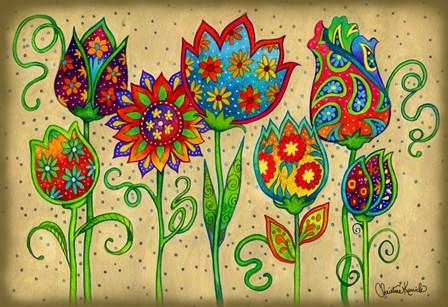 Mosaic Flowers-Spring by Christine Kerrick art print