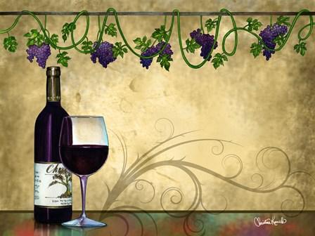 Wine II With Vines by Christine Kerrick art print