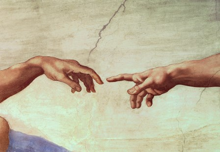 Hands of God and Adam, detail from The Creation of Adam, from the Sistine Ceiling, 1511 by Michelangelo Buonarroti art print
