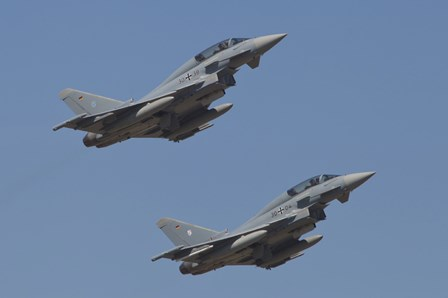 A pair of Eurofighter Typhoon Aircraft from the German Air Force by Timm Ziegenthaler/Stocktrek Images art print