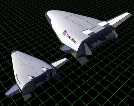 Artist's Concept Showing the Relative Sizes of the X-33 and VentureStar by Stocktrek Images art print