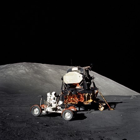 Apollo 17 Astronaut Makes a Short Checkout of the Lunar Roving Vehicle by Stocktrek Images art print
