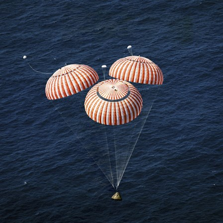 The Apollo 16 Command Module approaching Touchdown in the Central Pacific Ocean by Stocktrek Images art print
