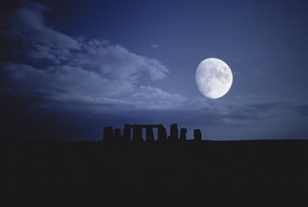 Composite of the Moon over Stonehenge, Wiltshire, England by Stocktrek Images art print
