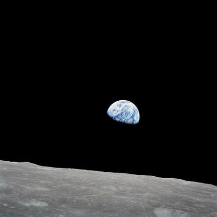 Earth Rising Above the Lunar Horizon by Stocktrek Images art print
