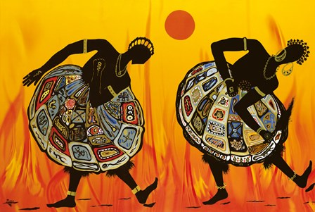 Two Dancing Women by Timothé Kodjo Honkou art print