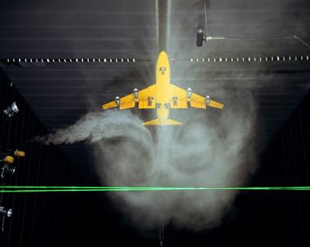 Wake Vortex flow visualization tests of a Boeing 747 Model by Stocktrek Images art print