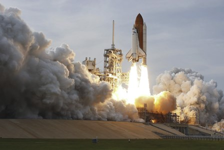Space Shuttle from Kennedy Space Center Takes Off by Stocktrek Images art print