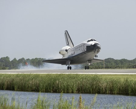 Space Shuttle Endeavour touches down on the runway by Stocktrek Images art print