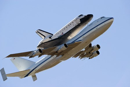 Space Shuttle Endeavour Mounted on a  Modified Boeing 747 Shuttle Carrier Aircraft by Stocktrek Images art print