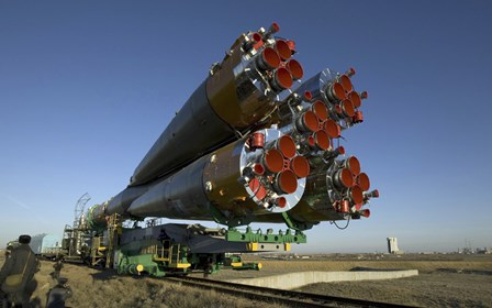 The Soyuz Rocket is Rolled out to the Launch Pad at the Baikonur Cosmodrome in Kazakhstan by Stocktrek Images art print