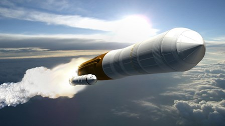 Artist's Concept of a Cargo Launch Vehicle Blast Off by Stocktrek Images art print