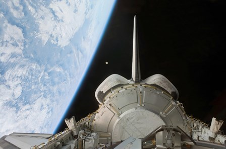Space Shuttle Discovery's Payload Bay Backdropped by Earth's Horizon by Stocktrek Images art print