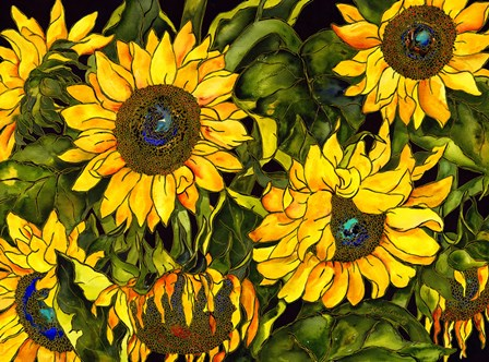 Sunflowers On a Field of Green by Kate Larsson art print