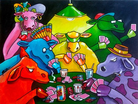 Cows Poker by Howie Green art print