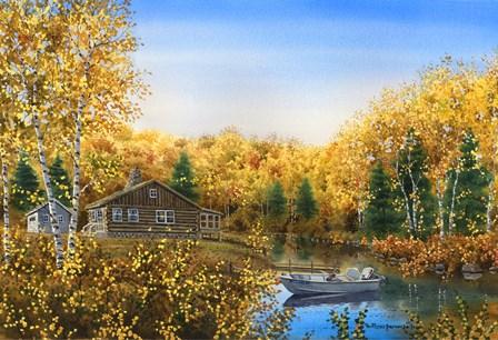 Fall Cabin by Byron Wells art print