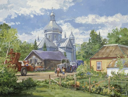 Gathered Around the Church by Peter Snyder art print