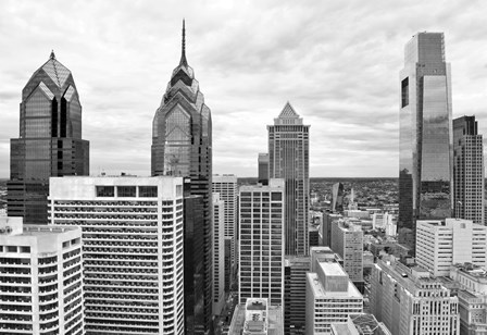 Philly Skyline (b/w) by Erin Clark art print