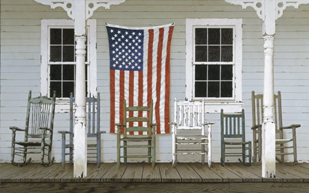 Chair Family With Flag by Zhen-Huan Lu art print