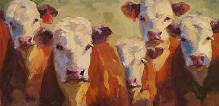 Party of Five Herefords by Sarah Webber art print