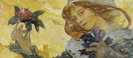 Woman with Rose by Alphonse Mucha art print