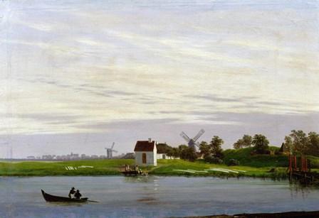 Landscape with Windmills by Caspar David Friedrich art print