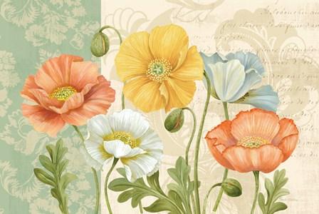 Pastel Poppies Multi Landscape by Pamela Gladding art print