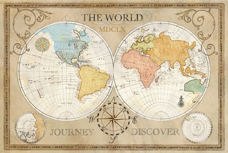 Old World Journey Map Cream by Cynthia Coulter art print