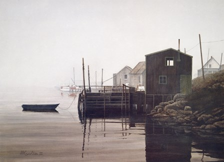 Misty Harbor by David Knowlton art print