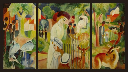 Large Zoological Garden (Triptych) by August Macke art print