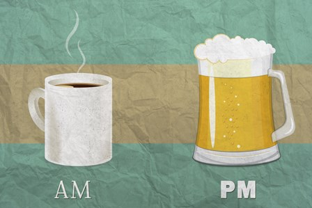 AM Coffee PM Beer by Lantern Press art print