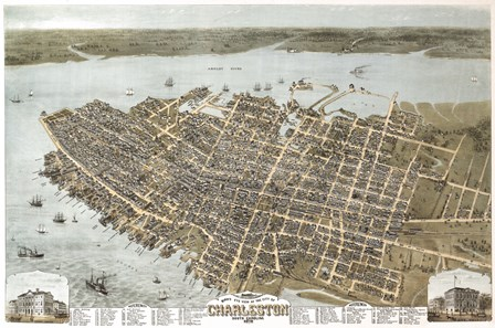 Charleston, South Carolina Map by Lantern Press art print