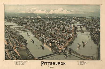 Pittsburgh Map, 1902 by Lantern Press art print
