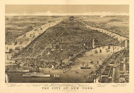 City of New York Map by Lantern Press art print