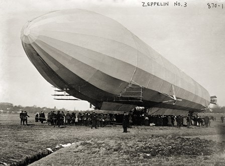 Blimp, Zeppelin No. 3, on Ground by Print Collection art print