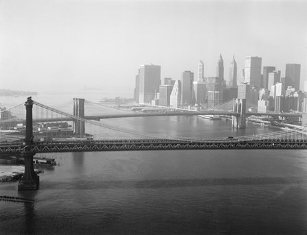 Brooklyn Bridge and Manhattan Bridge Aerial by Print Collection art print