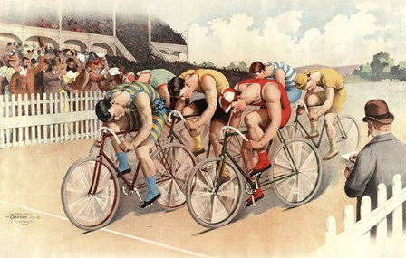 Bicycle Race Scene, 1895 by Vintage Apple Collection art print