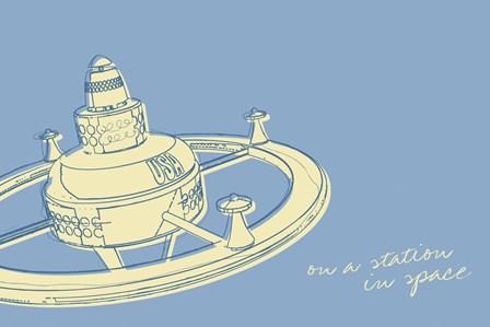 Lunastrella Space Station by John W. Golden art print