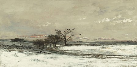 Landscape With Snow And Setting Sun, 1873 by Charles Francois Daubigny art print