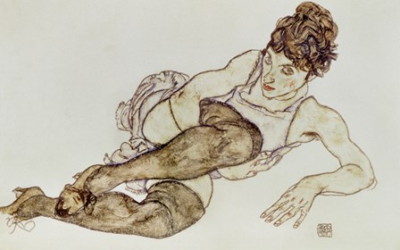 Reclining Woman With Black Stockings, 1917 by Egon Schiele art print