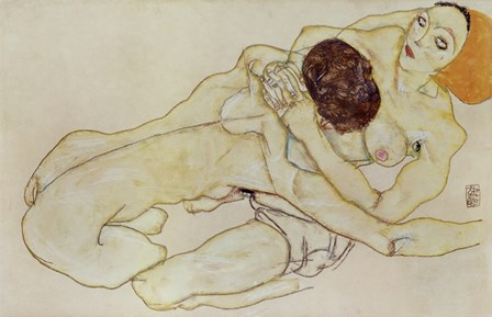 Two Girls (Lovers), 1914 by Egon Schiele art print