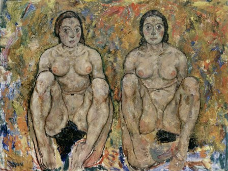 Squatting Women, 1918 by Egon Schiele art print