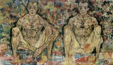 Two Squatting Men  (Double Self-Portrait), 1918 by Egon Schiele art print