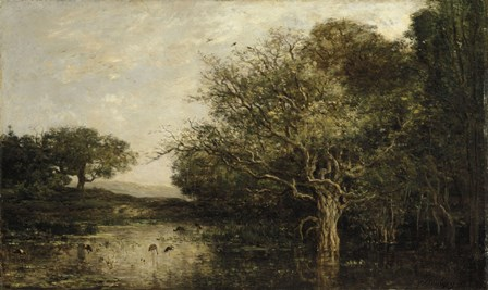 The Pond With Herons by Charles Francois Daubigny art print