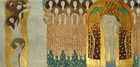 """The Final Chorus Of Beethoven's 9th Symphony, Detail Of  """"""""The Beethoven Frieze"""""""", 1902 by Gustav Klimt art print"""