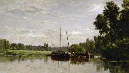 The Barges, 1865 by Charles Francois Daubigny art print