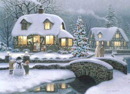 Christmas Eve At Holbrook Cottage by Richard Burns art print