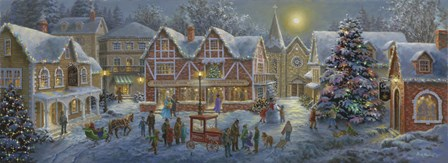 Christmas Village Panoramic by Nicky Boehme art print