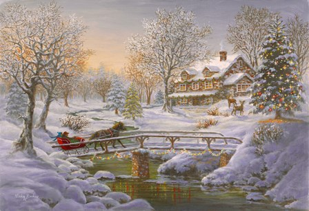 Over The Bridge To Grandmas House by Nicky Boehme art print